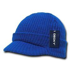 New Royal Blue Visor Beanie Jeep GI Military Ski Watch Cap Caps Hat Hats Beanies