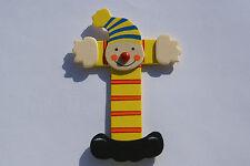 Lettre prenom de porte clown en bois T Jaune,Décoration de porte jeu et jouets**