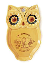 Vintage Yellow Owl Collectible Spoon Rest Trivet Yellowstone Wyoming Souvenir