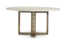 """60"""" W Placido Dining Table High Gloss White Concrete Brass Banded Steel Base"""