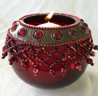 Red Tea Light Holder Cup Beaded Glass Candle Holder Votive Hand Made