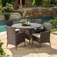 (5-Piece) Outdoor Patio Furniture Multi-Brown Wicker Round Dining Set