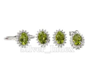 Natural 7X5mm Peridot Gems 925 Sterling Silver Ring Earring Pendent Jewelry Set