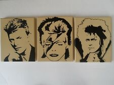David Bowie Set of 3 Hand Painted Canvas Wall Hangings