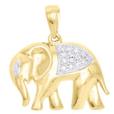 "10K Yellow Gold Real Diamond Elephant Pendant 0.85"" Pave Statement Charm 1/10 CT"