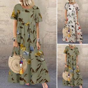UK Stock Women Summer Bohemia Floral Print Dress Kaftan Baggy Long Maxi Sundress