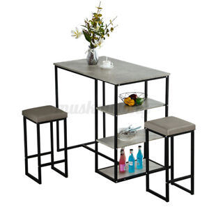 Woodyhome Dining Table Set + 2 Chairs Bar Shelf Breakfast Kitchen Home Furniture