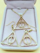 1 set of Golden deathly hallows metal Earrings necklace Film Movie