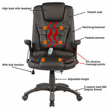 Heated Vibrating Executive Office Massage Chair Ergonomic Black Computer Desk