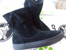 CROCS LODGEPOINT SUEDE PULL ON CROCBAND WINTER HIGH SNOW BOOT~Black~W 8~NWT