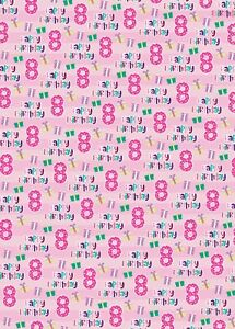 2 x 8th Birthday Wrapping Paper Sheets Age 8 Giftwrap Girl Pink Presents (PA)