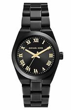 New Michael Kors Women's Mini Channing Black Ion-Plated Steel 33mm Watch MK6100