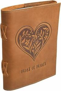 Home Leather Journal Notebook Diary Heart Brown for Unisex for valentine gift