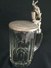 Antique Clear Glass Pewter Top Stein -goat pull !