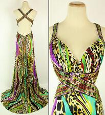New Jovani Genuine 152103 Leopard Prom Evening Dress Halter Full-Length Size 6