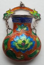 Vintage Chinese Cloisonne & Sterling Bottle/Pendant, Nice & Pretty