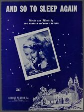 1951 AND SO TO SLEEP AGAIN Marsala & Skylar PATTI PAGE Sheet Music