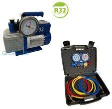 POMPA del VUOTO BISTADIO 70 L. OMOLOGATA PER GAS R32 + KIT MANOMETRICO R410A R32