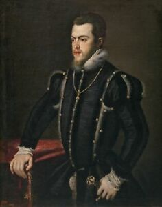 Titian Portrait of Philip II of Spain Giclee Canvas Print repro