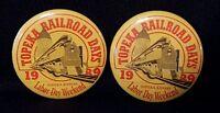 Lot of 2 Topeka, Kansas Railroad Days 1989 Labor Day pinback buttons