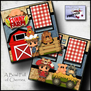 FUNNY FARM ~ 2 PREMADE SCRAPBOOK PAGES Paper printed layout 4 album ~ BY CHERRY
