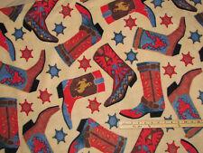 Western Cowboy Boot & Badge Fleece Fabric by the Yard