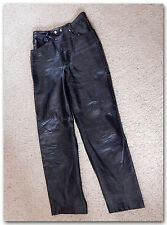 "WOMENS LADIES BLACK LEATHER MOTORCYCLE RIDING PANTS SIZE 30"" WAIST 28"" INSEAM"