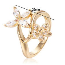 Womens Lucky Lovely Fashion 14K Double Flower Wedding Band Ring Size 5.5