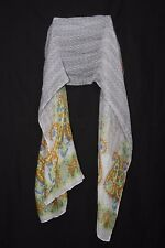 White Blue Yellow Tangerine Chartreuse Light Blush Floral & Symbols Scarf (S179)