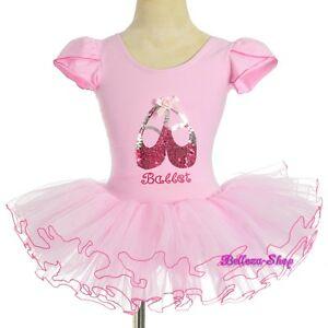Pink Sequined Ballet Tutu Dance Costume Fairy Fancy Dress Leotard Sz 4T-5 BA060