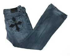 Affliction Cooper Relaxed Boot Cut Mens Blue Jeans Embellished Flap Sz 36x33