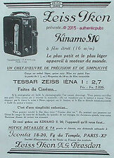 PUBLICITE ZEISS IKON KINAMO S.10 TESSAR APPAREIL PHOTO DE 1929 FRENCH AD PUB