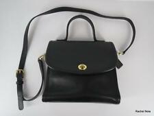 NEW COACH Black Leather Brass Hardware Crossbody Handbag Purse Made in USA NWOT