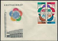DDR 1962, 4er-Block Weltfestspiele (MiNr. 901/04) auf FDC mit ESSt. -X8004-