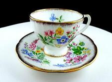 "ROYAL STANDARD COUNTRY LANE BRUSH GOLD RIM AND FLORAL 2 3/4"" CUP AND SAUCER SET"