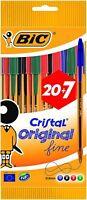 BIC Cristal Original Stylos-Bille Pointe Fine (0,8 mm) - Couleurs Assorties 20+7