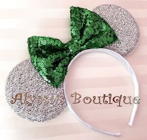 NEW Minnie Mouse Shiny Silver Ears Headband Dark Emerald Green Sequin Bow PARTY