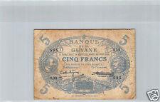 GUYANE 5 FRANCS LOI 1901 (1942) S.39 N° 595 PICK 1d