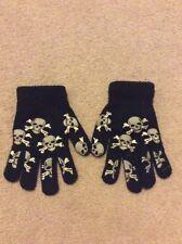 Boys Size Small Black Skull & Crossbone Non Slip Gloves