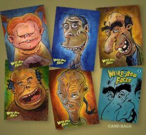 Art Of Robert Jimenez Weird-Ass Faces Trading Card Set (of 5) Weirdo Lowbrow Art