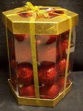 28 PIECE GLITERBALL SHATTERPROOF BALL CHRISTMAS ORNAMENT SET RED