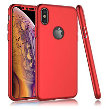For iPhone 11 Pro Max XR 360° Full Protective Hard Case Cover + Tempered Glass