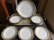 SERVICE A GATEAU PORCELAINE MLV FRANCE  PLAT 10 ASSIETTE DECOR AUX FRUITS