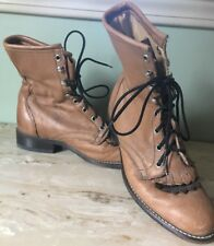 laredo boots 7.5 Kiltie Ankle Brown Leather Lace Up Woman's Western Cowboy