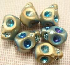 6 Pieces 8x10mm Skull Crystal Colorful Glass beads DIY Jewelry Make hot sell D20