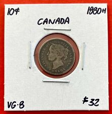 1880 H Canada 10 Cent Silver Coin Dime -G/ VG