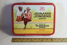 Vintage - Rare Dutch Colonial Javaanse Jongens Live Tobacco Tin - 1950's