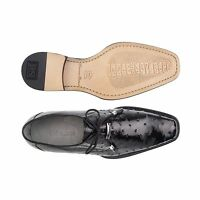 Belvedere Mens shoes Isola Black Genuine Ostrich Cushion Insole lace up 14001