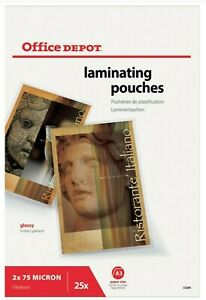 Office Depot A3 Laminating Pouches Glossy 150 micron Pack of 25