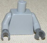 100% LEGO Light Bluish Gray Torso and arms W/ Dark Bluish Gray hands NEW